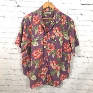Vintage Karen Scott Pink Purple Floral Button Down